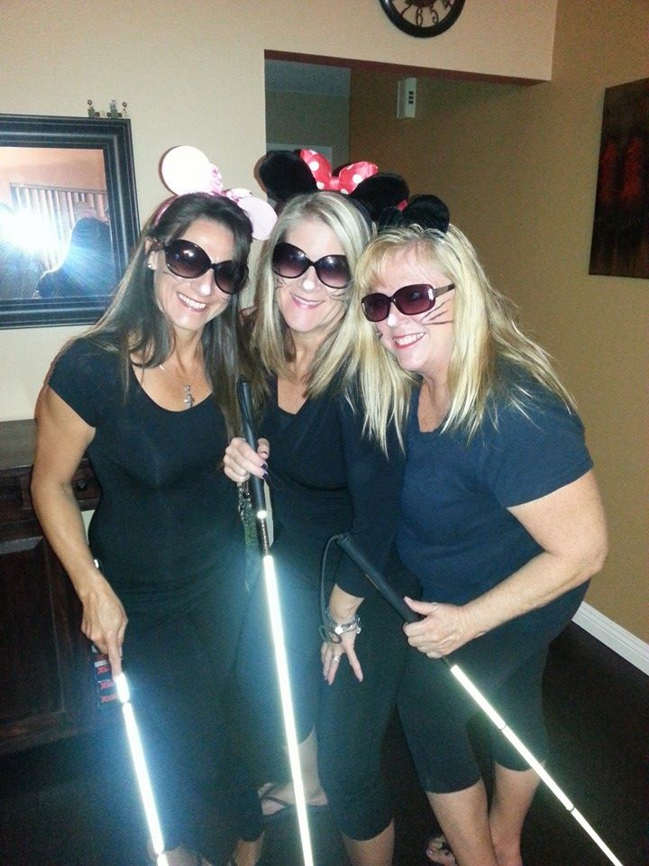 "A photo of My two girlfriends, Ursula and Robin, and myself, Dressed up as the ""three blind mice"". We were a hit!!!"