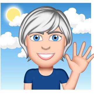 A cute illustrated picture of Lynne. She has blonde short hair a big smile and is waving. her hand as if to say Hello!